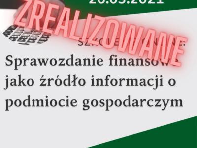 Szkolenie online: Sprawozdanie finansowe jako źródło informacji o podmiocie gospodarczym
