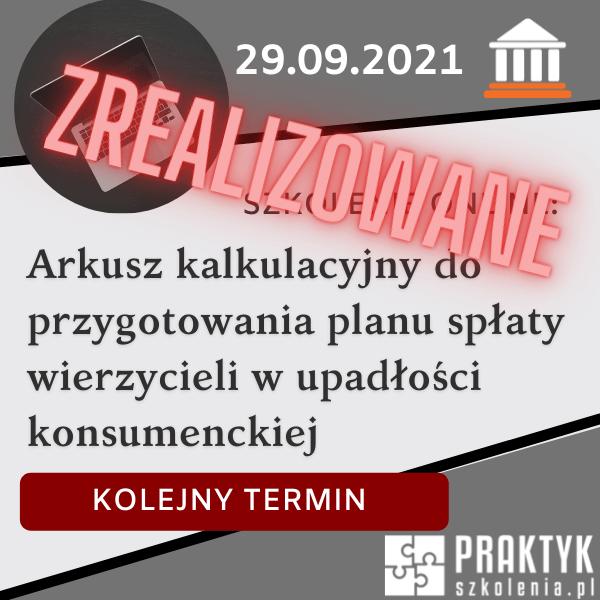 Szkolenie online: Arkusz kalkulacyjny do przygotowania planu spłaty wierzycieli w upadłości konsumenckiej (29.09)